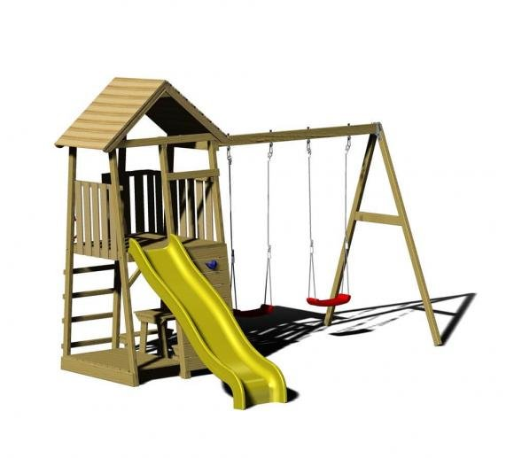 Wendi Toys Spielturm Giraffe Stelzenhaus Kletterturm inkl. Rutsche & Kletterwand