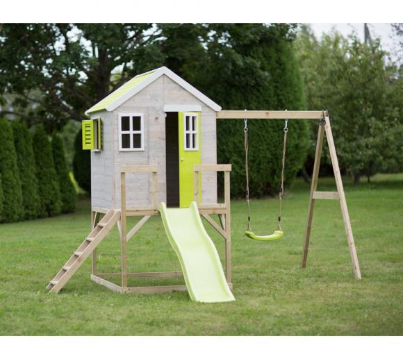 Wendi Toys Kinderspielhaus Elefant Lime Spielturm inkl. Veranda & Rutsche