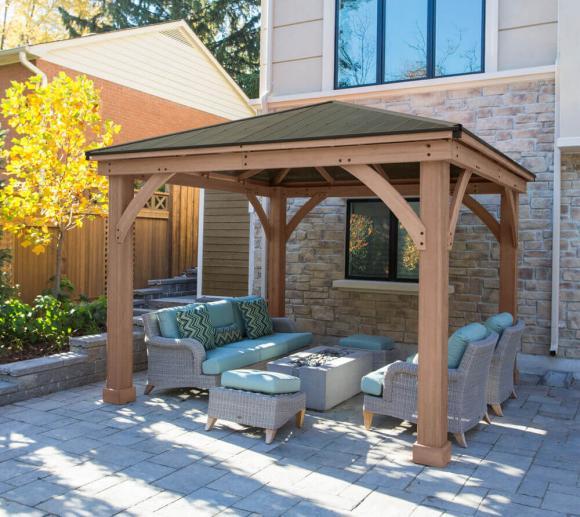 Westmann Holz Pavillon Devon 12x12 Gartenlaube natur 366x366 cm