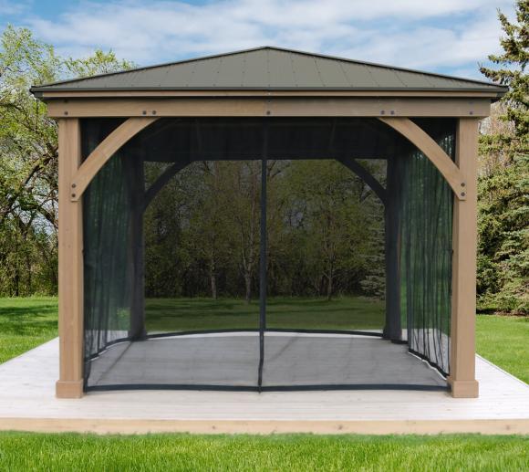 Westmann Holz Pavillon Devon 12x12 Moskitonetz schwarz