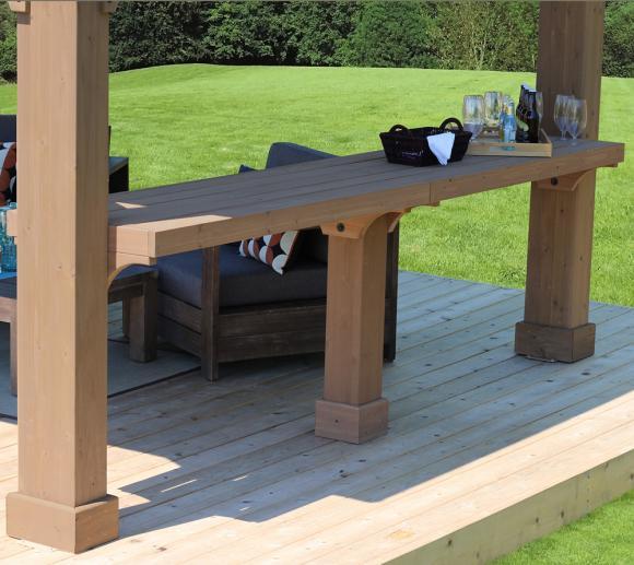 Westmann Seitenablage für Holz Pavillon Devon 12x12 und 12x14 braun