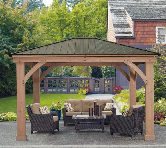Westmann Holz Pavillon Devon 12x14 Gartenpavillon natur 366x427 cm