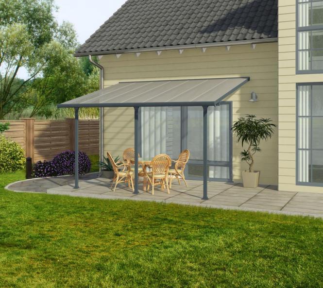 palram carport 300x610 cm grau inkl regenrinnen und befestigungskit mygardenhome. Black Bedroom Furniture Sets. Home Design Ideas
