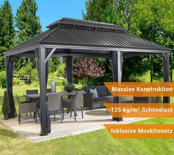 sojag aluminium pavillon gazebo messina 12x20 inkl moskitonetz 363x598 cm mygardenhome. Black Bedroom Furniture Sets. Home Design Ideas