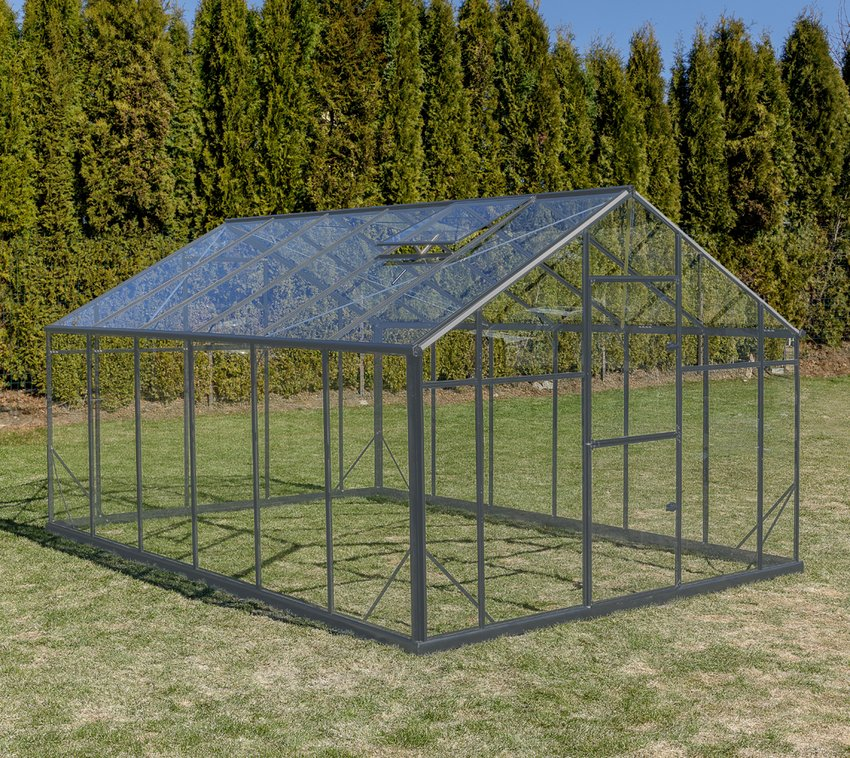 Gampre Aluminium Gewächshaus Sanus XL grau, 290x430 cm
