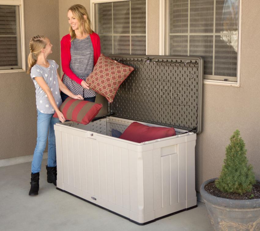 Lifetime Harmony Kissenbox, Gartenbox und Auflagenbox 440l Anthrazit u. Grau