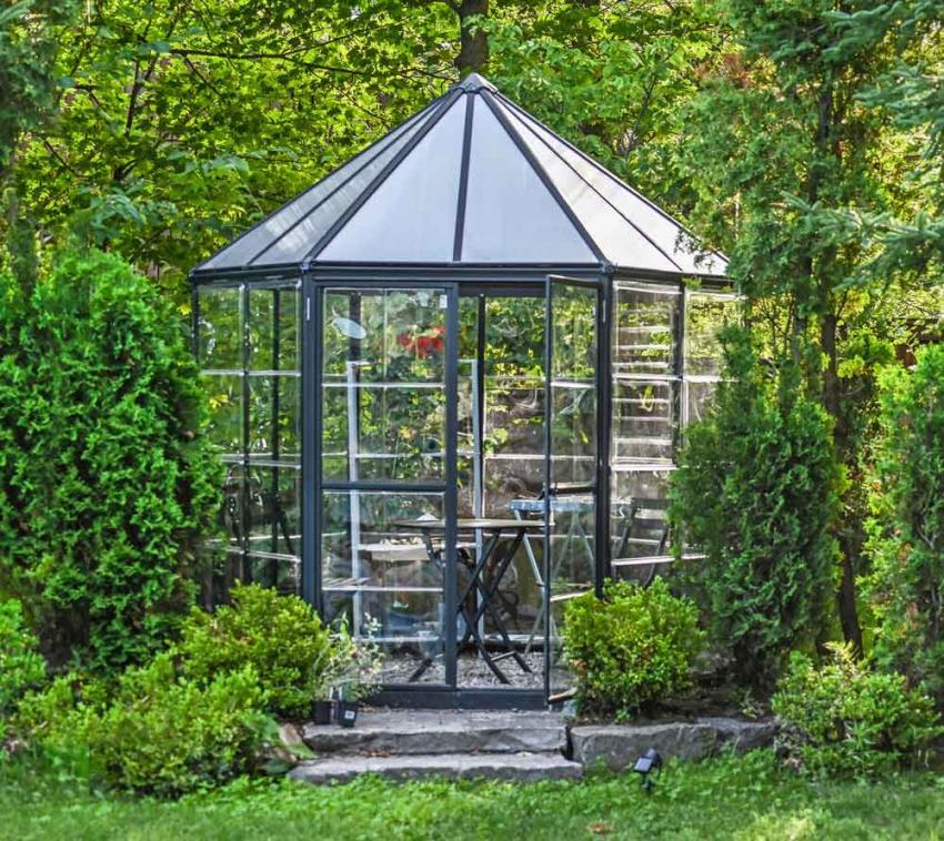 Palram Aluminium Gewächshaus Set Oasis grau, Ø248 cm