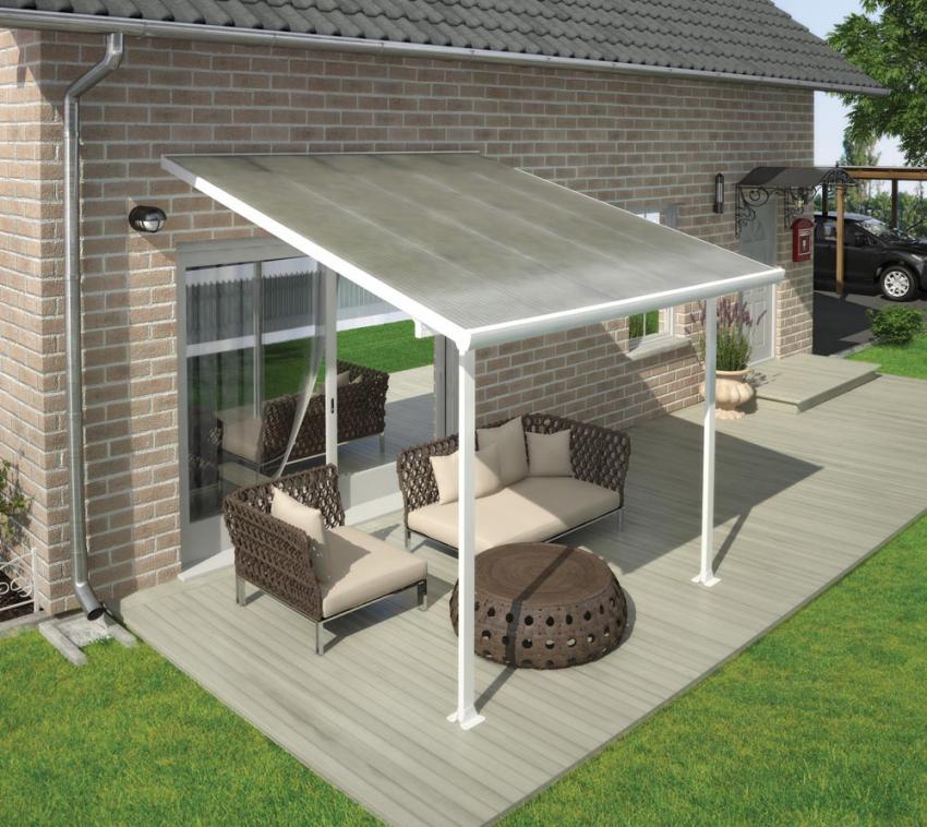 Palram Terrassendach, Terrassenüberdachung 300x305 weiß inkl. Regenrinnen und Befestigungskit