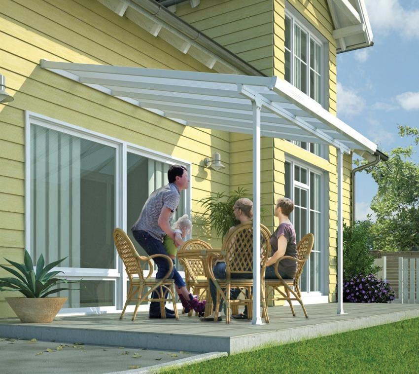 Palram Terrassendach, Terrassenüberdachung 300x915 cm weiß inkl. Regenrinnen und Befestigungskit