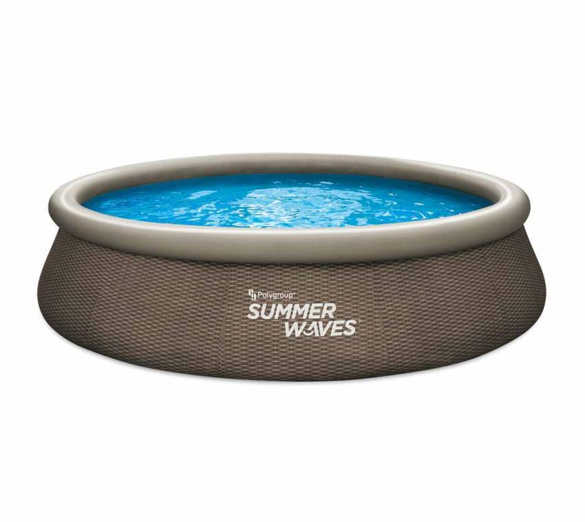 Summer Waves aufblasbarer Quick Pool rattan braun Ø396x84 cm