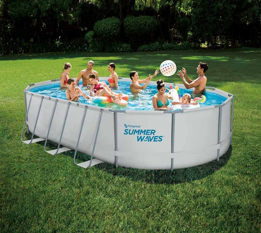 Summer Waves Aufstellpool Active Frame Swimmingpool lichtgrau 610x406x122 cm