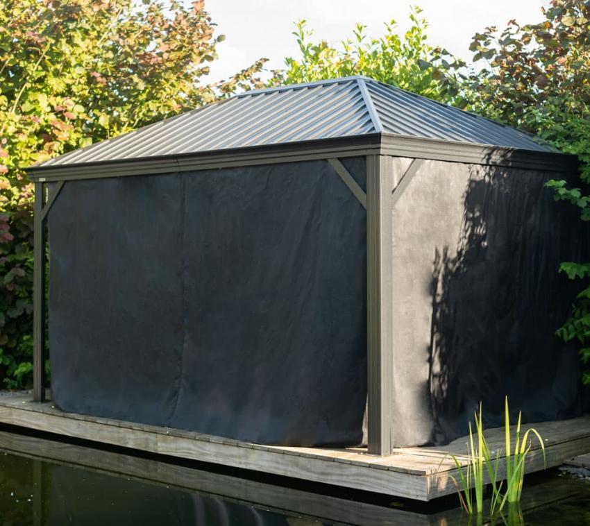 Sojag Pavillon Marsala 10x14 Vorhänge Seitenteile Schwarz