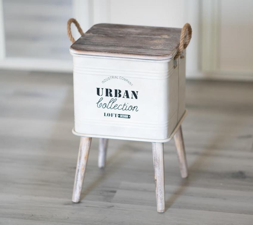 Westmann Aufbwahrung Stelzenboxen 3er Set quadratisch Stelzenkisten weiß Holzdeckel