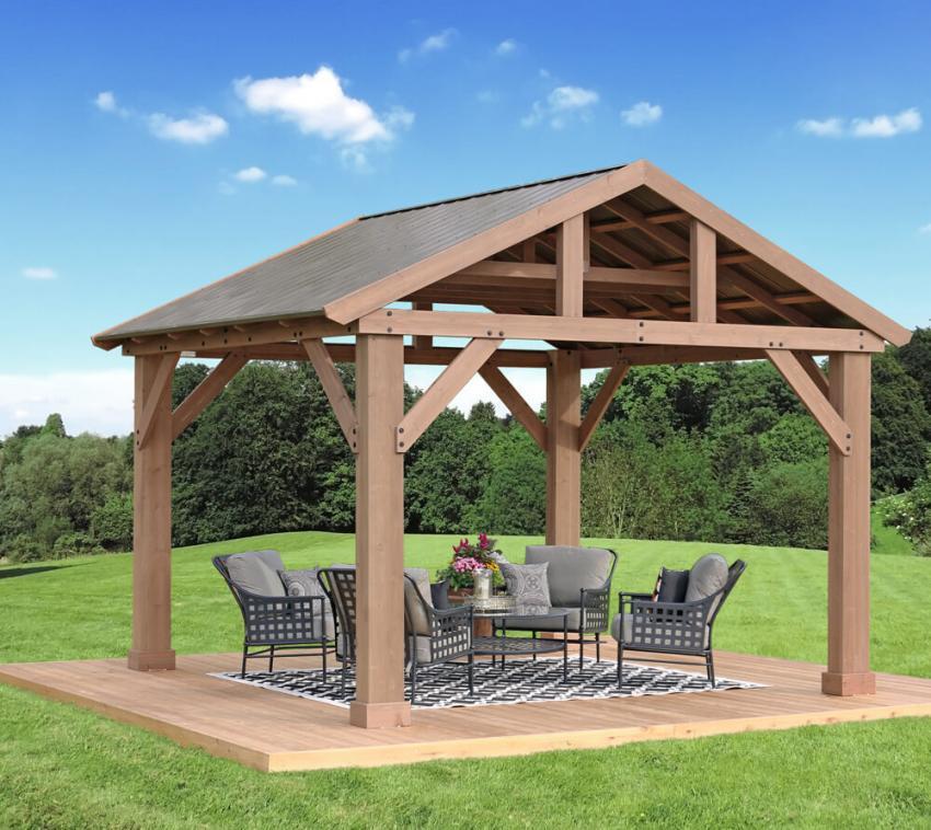 Westmann Holz Pavillon Yukon 14x12 Gartenpavillon natur 427x366 cm