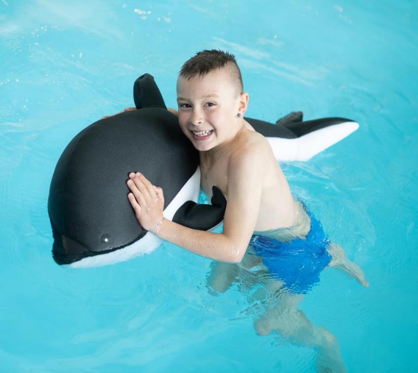 Westmann Stoff Schwimmtier Delfin Badeinsel grau 102x40 cm