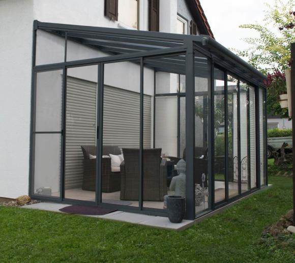 Palram Terrassendach Wintergarten Sanremo 300x556 Anthrazit