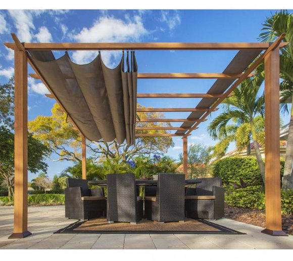 aluminium pavillon florida pergola sonnenschutz 350x350 cm mygardenhome. Black Bedroom Furniture Sets. Home Design Ideas