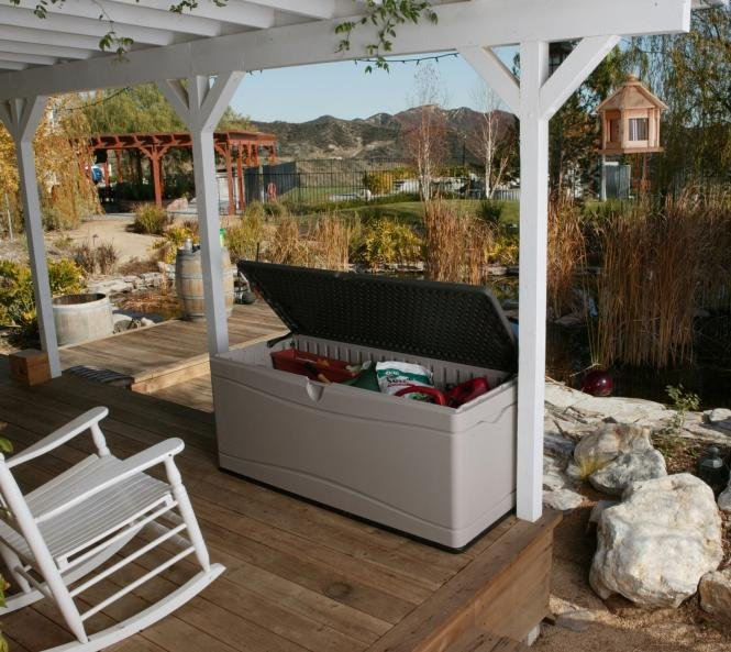 neu ovp lifetime xxl kissenbox gartenbox gartentruhe ca 500l stauraum ebay. Black Bedroom Furniture Sets. Home Design Ideas