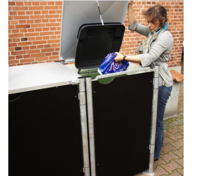 hide m lltonnenbox m lltonnenverkleidung schwarz f r 2 m lltonnen 140l volumen ebay. Black Bedroom Furniture Sets. Home Design Ideas