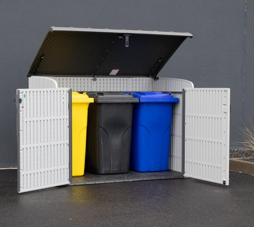 Gerätebox Lifetime XXL Kunststoff Mülltonnenbox Aufbewahrungsbox Dunkelgrau