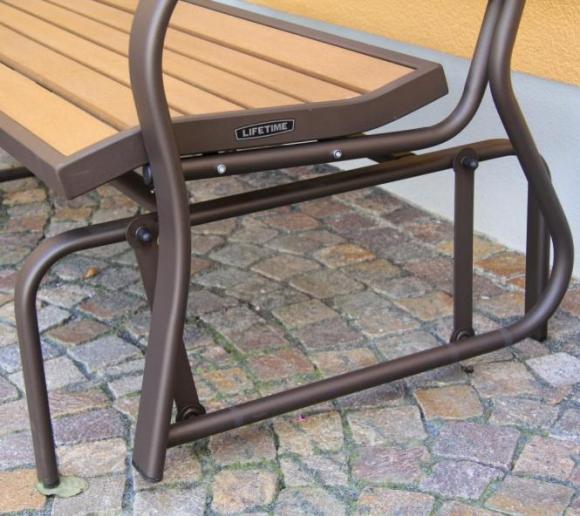 lifetime schaukelbank sitzbank 120cm braun mit stahlrahmen mygardenhome. Black Bedroom Furniture Sets. Home Design Ideas