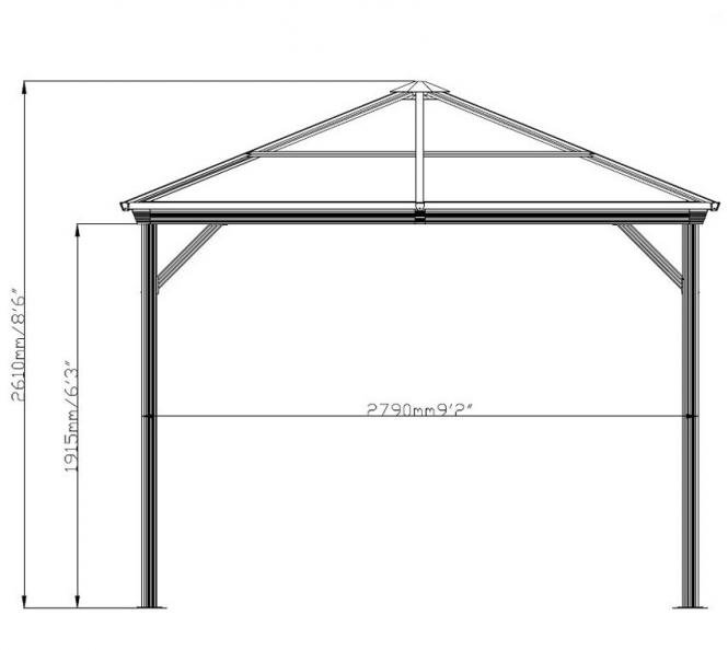 sojag aluminium pavillon gazebo verona 10x14 inkl moskitonetz 298x423 cm ebay. Black Bedroom Furniture Sets. Home Design Ideas