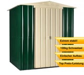 Globel Industries Metallgerätehaus 6x5 heritage green & smooth cream / 171x144 cm