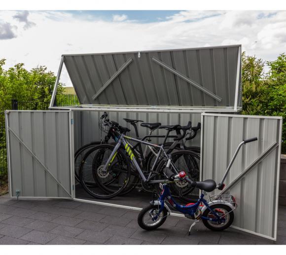 absco fahrradbox, metallgerätebox & fahrradgarage dunkelgrau, 225x78