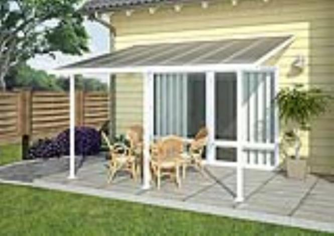 palram terrassendach terrassen berdachung 300x1092 cm wei inkl regenrinnen und. Black Bedroom Furniture Sets. Home Design Ideas