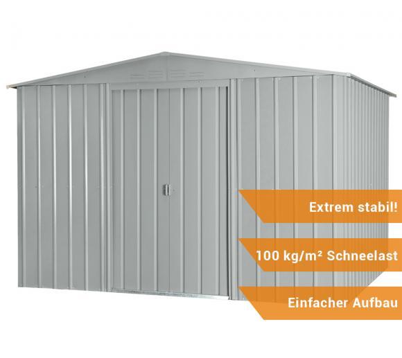 metall ger tehaus ger teschuppen gartenhaus 10x10 silber metallic 295x299 cm ebay. Black Bedroom Furniture Sets. Home Design Ideas