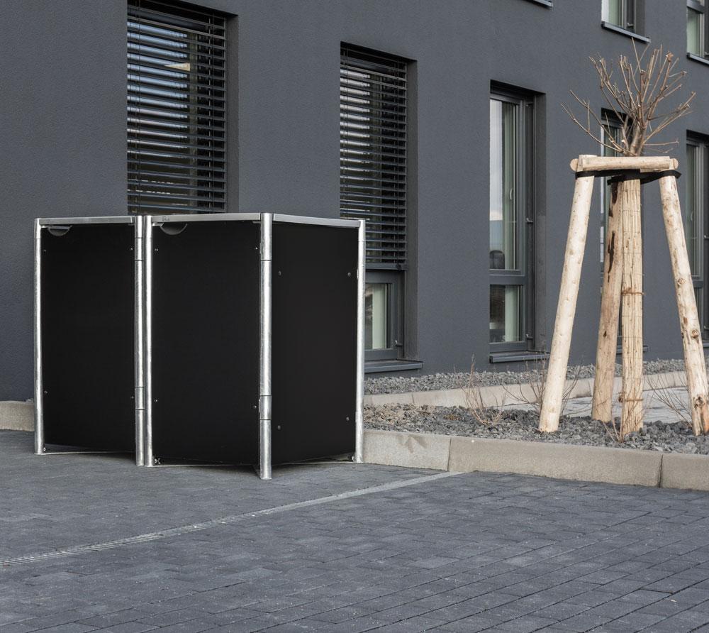 Hide Mülltonnenbox, Mülltonnenverkleidung, für 2 Mülltonnen 140l Volumen; Schwarz