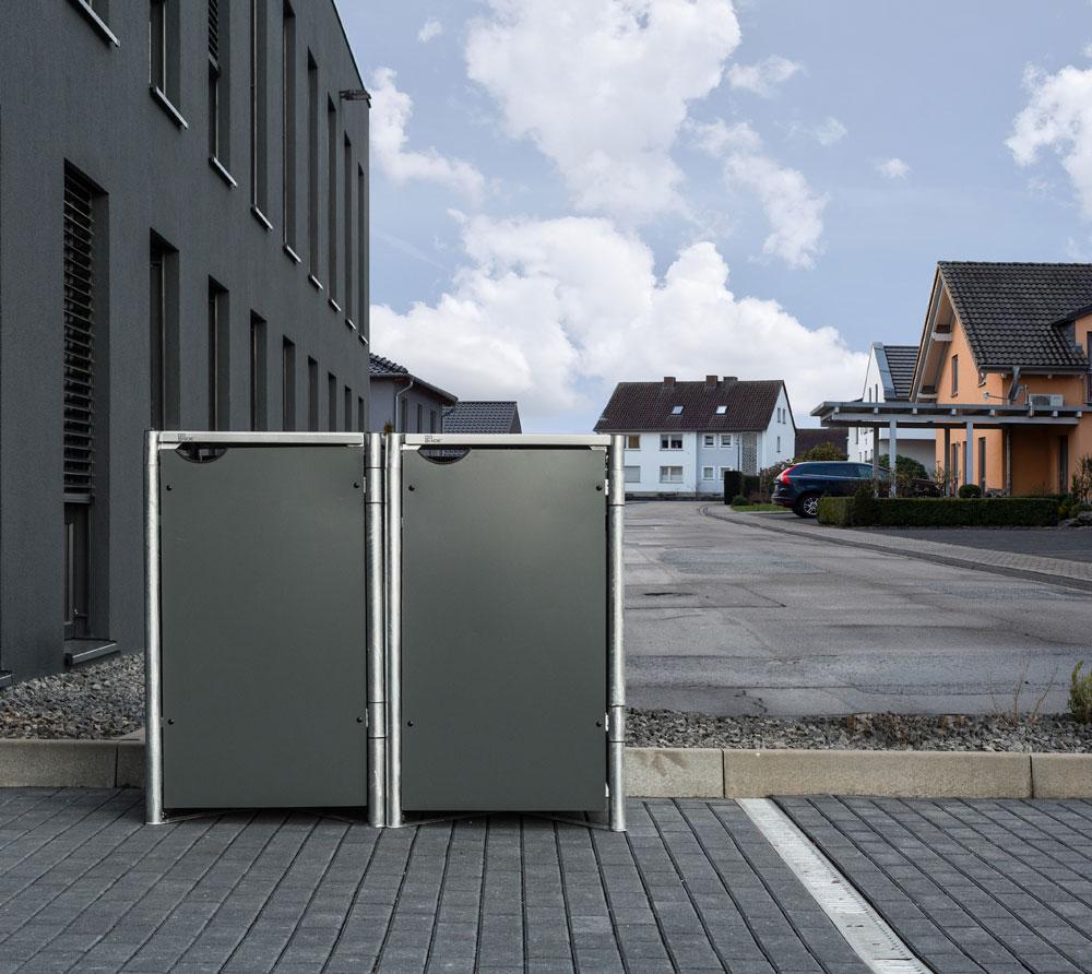 Hide Mülltonnenbox, Mülltonnenverkleidung, für 2 Mülltonnen 140l Volumen Grau