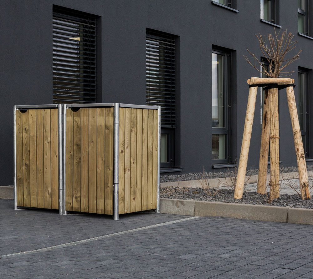 Hide Mülltonnenbox, Mülltonnenverkleidung, für 2 Mülltonnen 140l Volumen Natur
