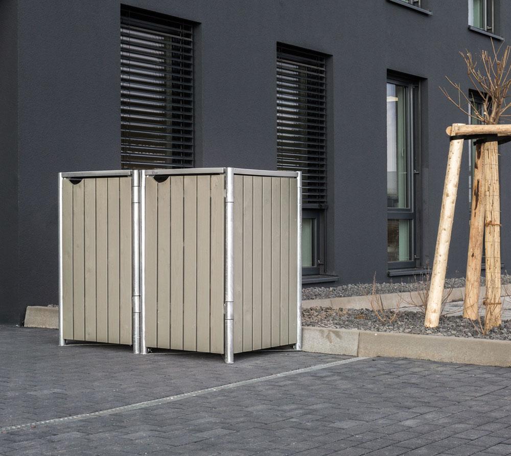 Hide Mülltonnenbox, Mülltonnenverkleidung, für 2 Mülltonnen 140l Volumen; Natur Grau