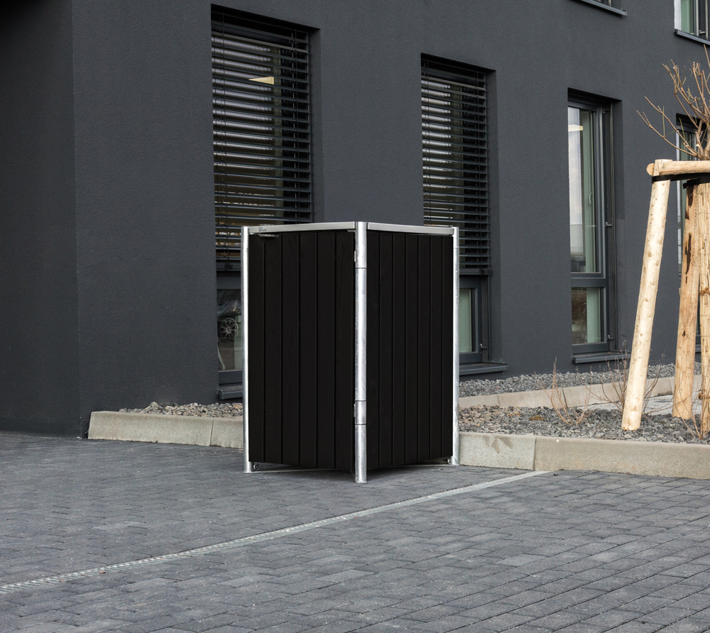 Hide Mülltonnenbox, Mülltonnenverkleidung; Für 1 Mülltonne 140l Volumen; Natur Schwarz