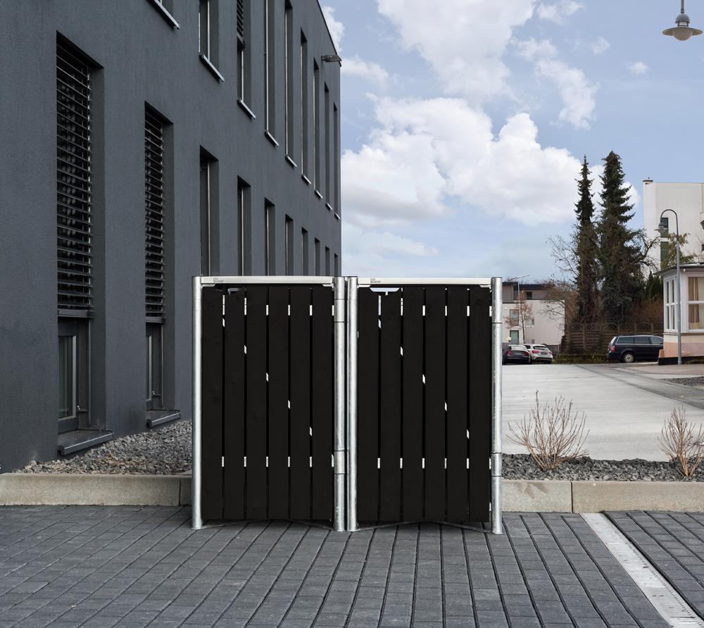Hide Mülltonnenbox, Mülltonnenverkleidung, für 2 Mülltonnen 140l Volumen; Natur Schwarz