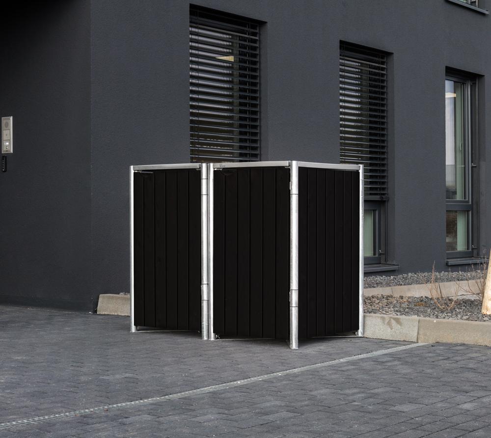Hide Mülltonnenbox, Mülltonnenverkleidung, für 2 Mülltonnen 240l Volumen; Natur Schwarz