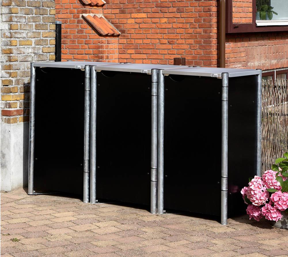 hide m lltonnenbox m lltonnenverkleidung schwarz f r 3 m lltonnen 140l volumen mygardenhome. Black Bedroom Furniture Sets. Home Design Ideas