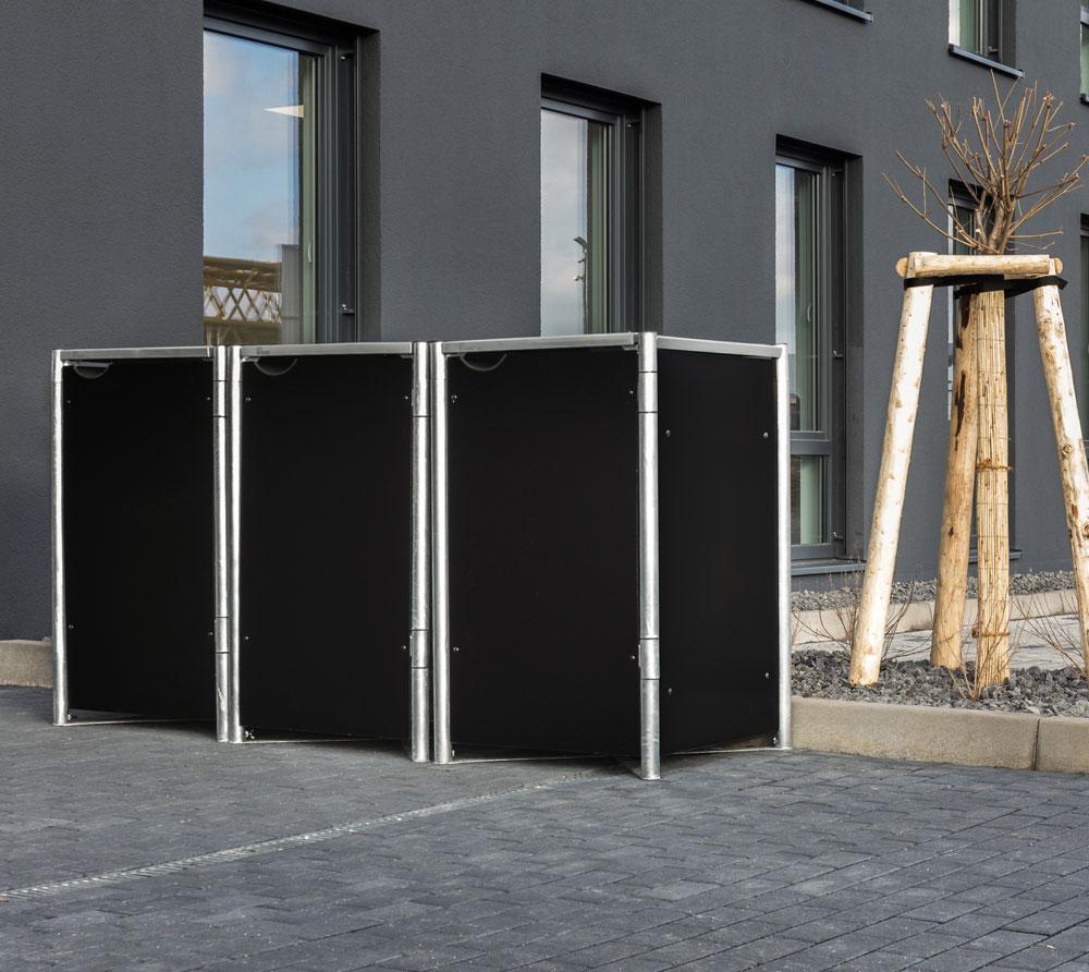 Hide Mülltonnenbox, Mülltonnenverkleidung; Für 3 Mülltonnen 140 l Volumen; Schwarz