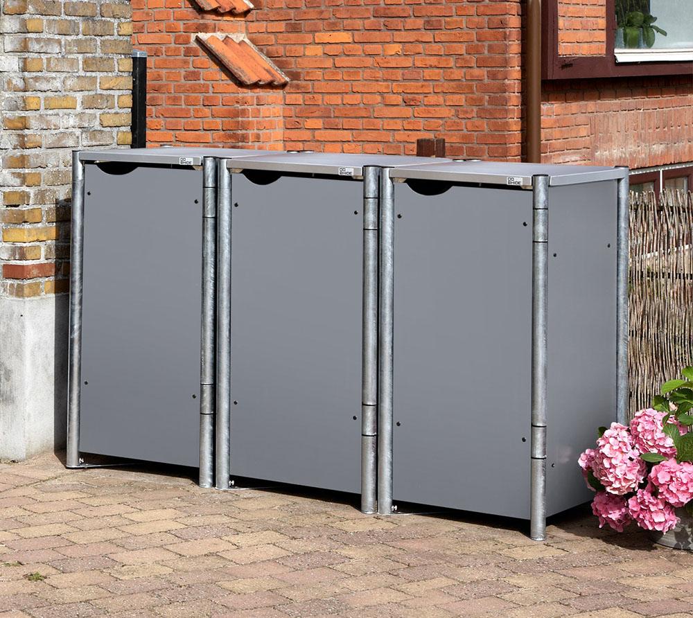 hide m lltonnenbox m lltonnenverkleidung grau f r 3 m lltonnen 140l volumen mygardenhome. Black Bedroom Furniture Sets. Home Design Ideas