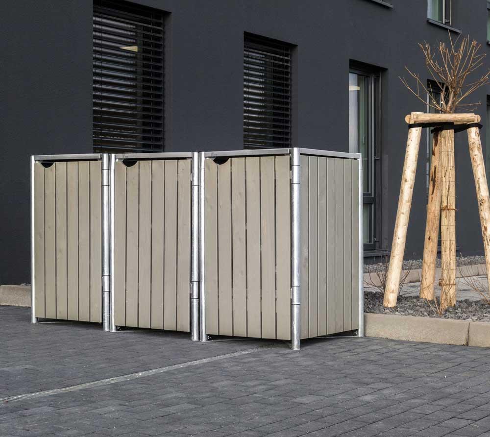 Hide Mülltonnenbox, Mülltonnenverkleidung; Für 3 Mülltonnen 140 l Volumen; Natur Grau