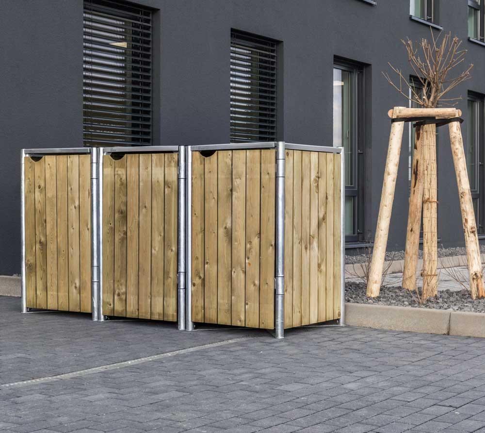Hide Mülltonnenbox, Mülltonnenverkleidung; Für 3 Mülltonnen 240l Volumen Natur