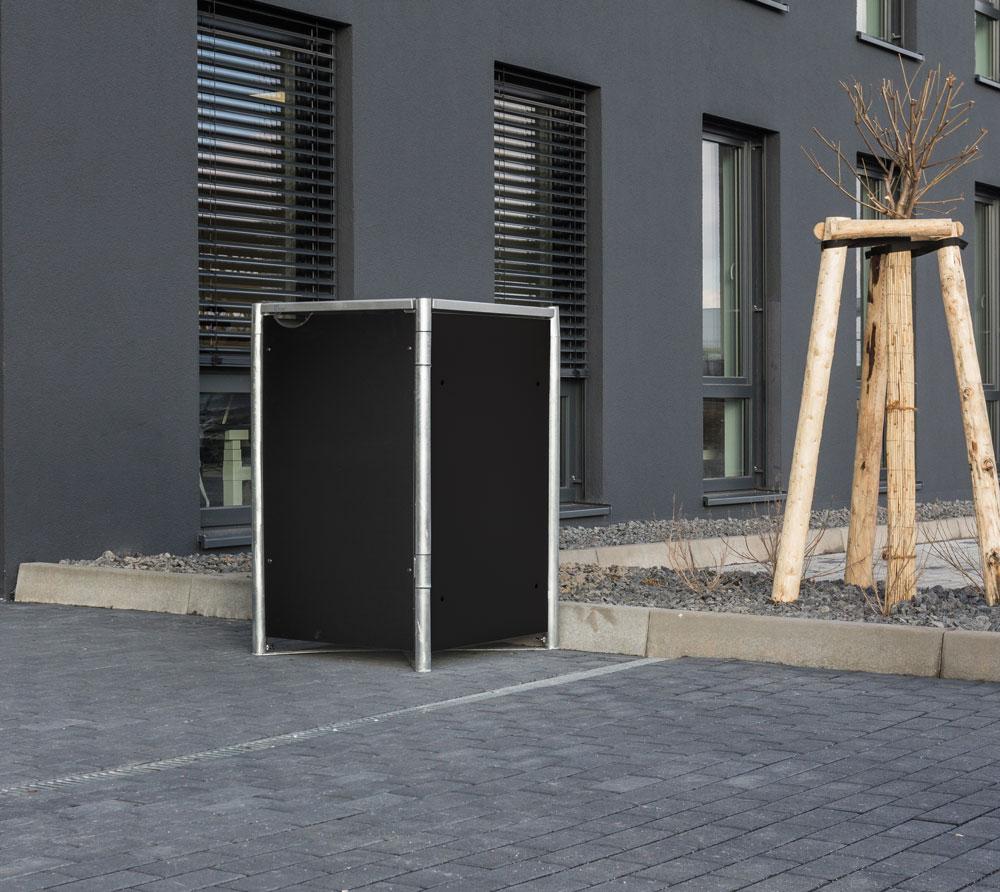 Hide Mülltonnenbox, Mülltonnenverkleidung; Für 1 Mülltonne 140l Volumen; Schwarz