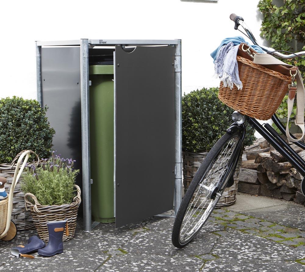 Hide Mülltonnenbox, Mülltonnenverkleidung; Für 1 Mülltonne 140l Volumen Grau