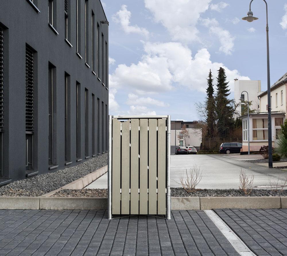 Hide Mülltonnenbox, Mülltonnenverkleidung; Für 1 Mülltonne 140l Volumen; Natur Grau