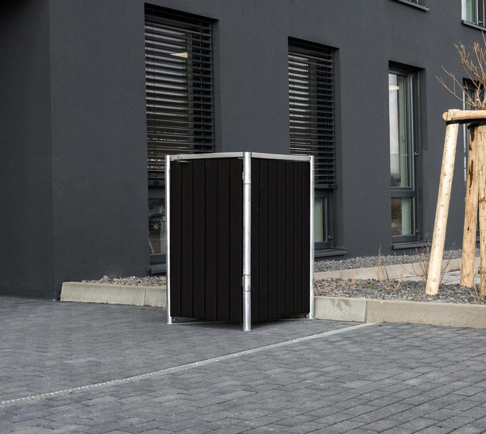 Hide Mülltonnenbox, Mülltonnenverkleidung; Für 1 Mülltonne 240l Volumen; Natur Schwarz