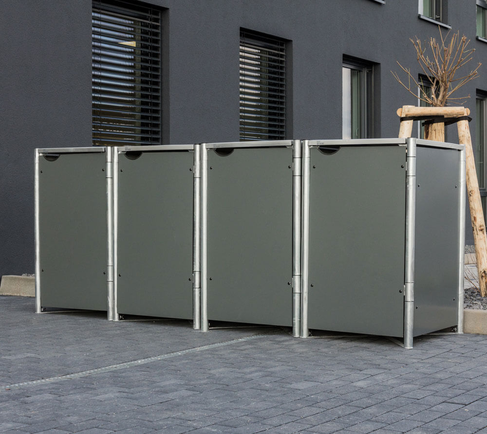 Hide Mülltonnenbox, Mülltonnenverkleidung; Für 4 Mülltonnen 140l Volumen Grau