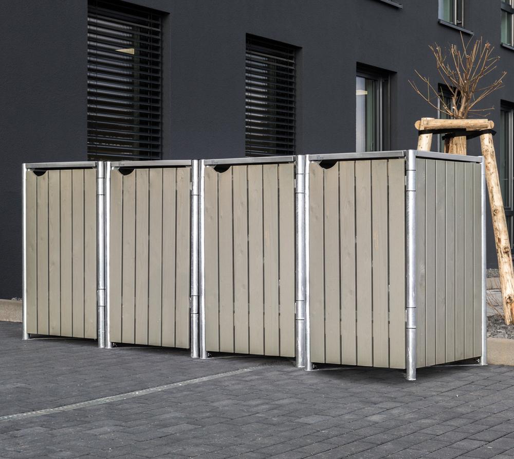 Hide Mülltonnenbox, Mülltonnenverkleidung für 4 Mülltonnen 240l Volumen Natur Grau