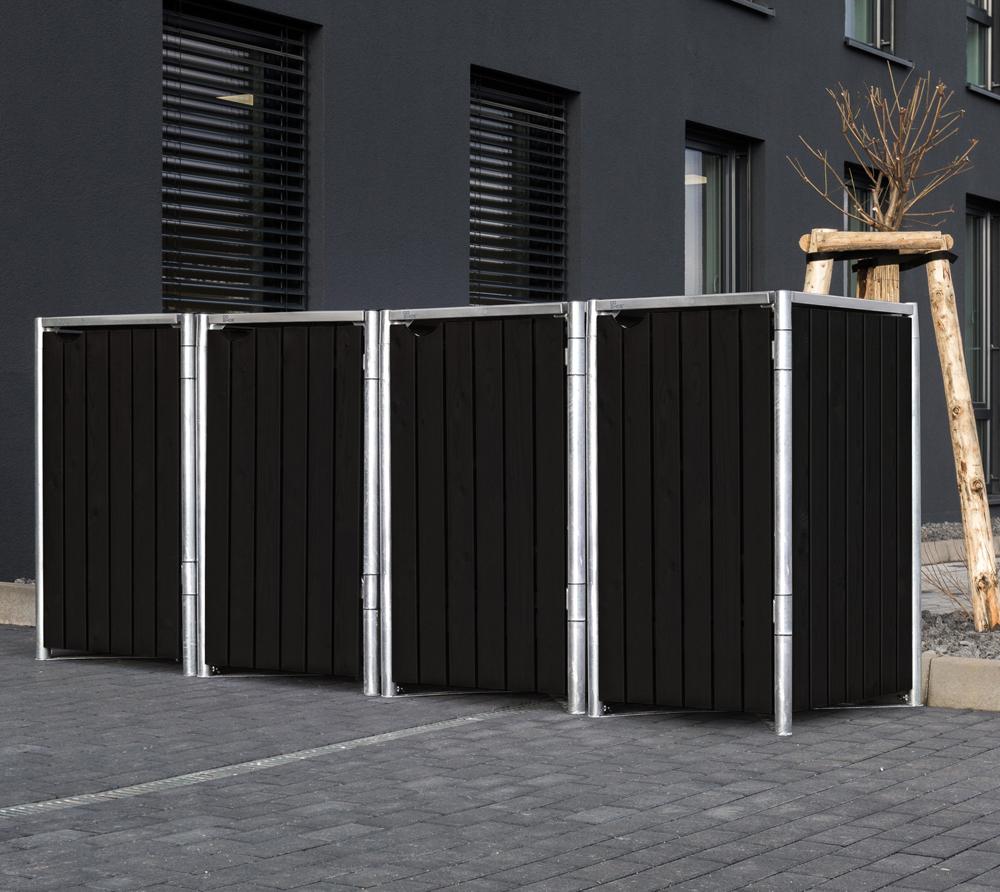 Hide Mülltonnenbox, Mülltonnenverkleidung für 4 Mülltonnen 240l Volumen Natur Schwarz