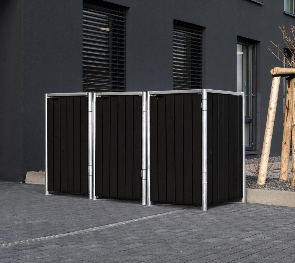 Hide Mülltonnenbox, Mülltonnenverkleidung; Für 3 Mülltonnen 240l Volumen; Natur Schwarz